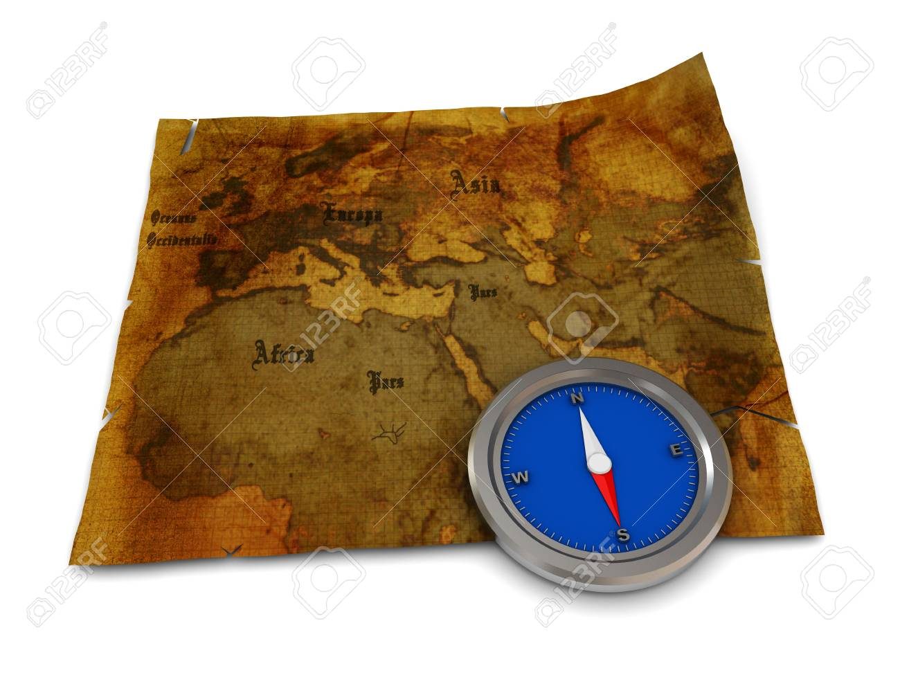3d illustration of old map and compass on it Stock Illustration - 4161314