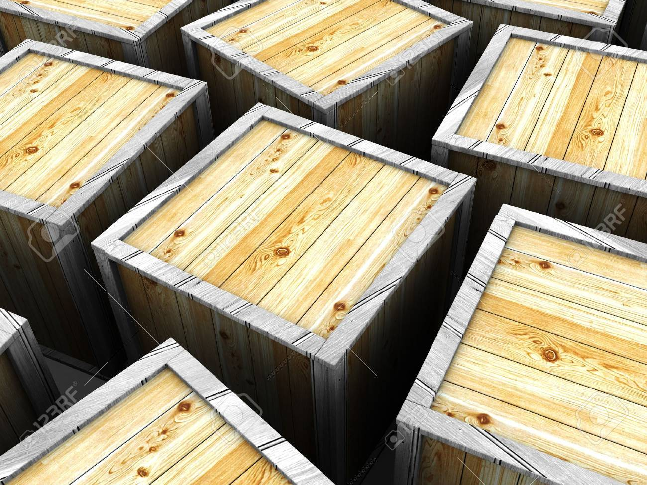 3d illustration of many wooden crates background Stock Illustration - 4268985