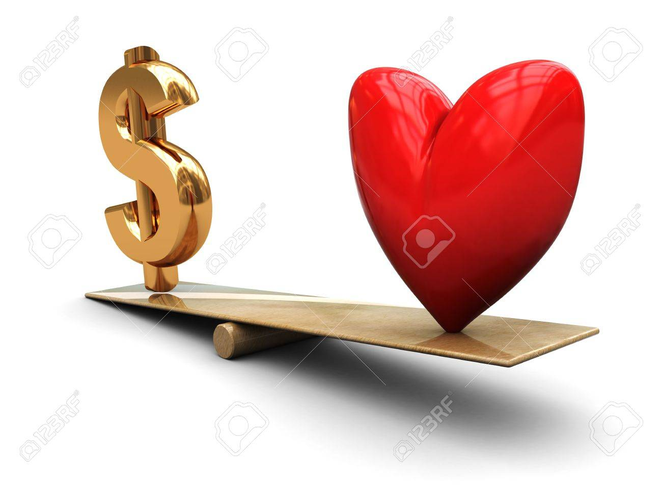 3d illustration of heart and dollar sign on scale Stock Photo - 4268954