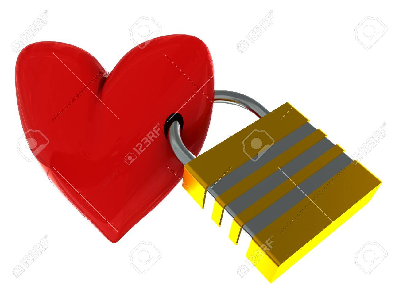 3d illustration of red heart with lock isolated over white background Stock Illustration - 4268908