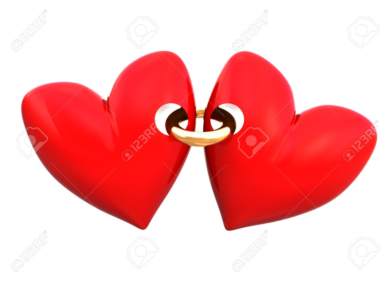 Abstract 3d Illustration Of Two Hearts Connected By Golden Ring ...