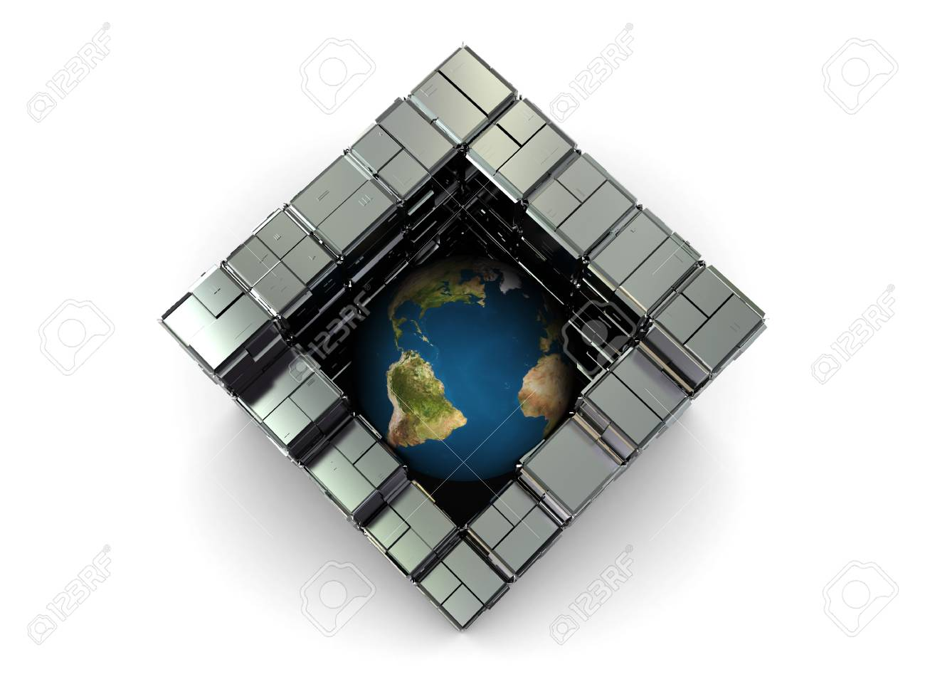 abstract 3d illustration of earth globe in steel industrial cube Stock Photo - 4459222