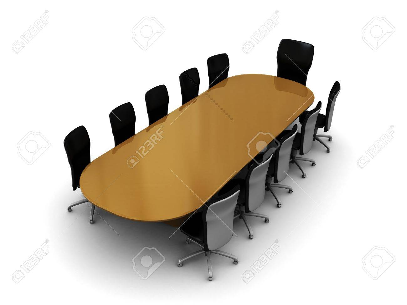 D Illustration Of Business Meeting Table And Chairs Over White - Conference room table and chairs clip art