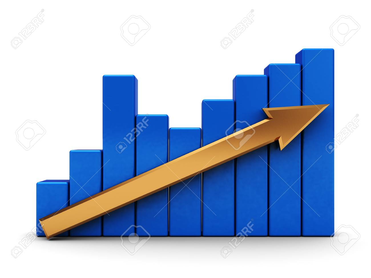 abstract 3d illustration of graph with arrow over white background Stock Photo - 4583779