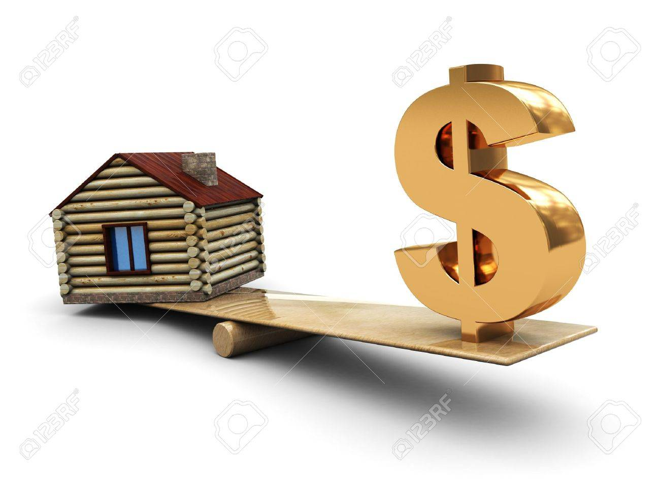 3d illustration of small house and dollar sign on scale Stock Illustration - 4693137