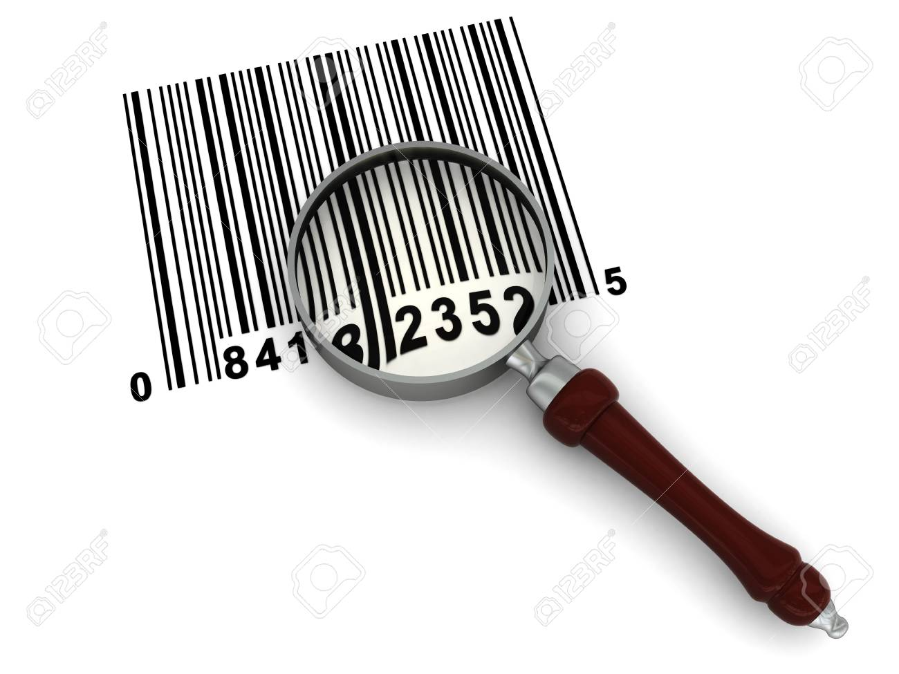 3d illustration of magnyfy glass and barcode over white background Stock Illustration - 4718192