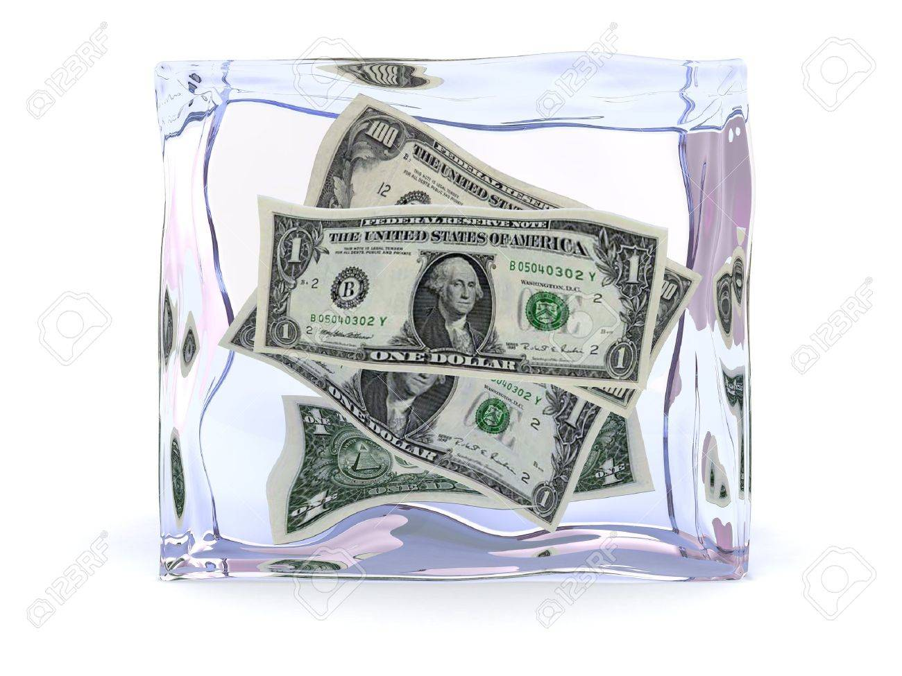 3d illustration of ice cube with dollars inside Stock Illustration - 4718199
