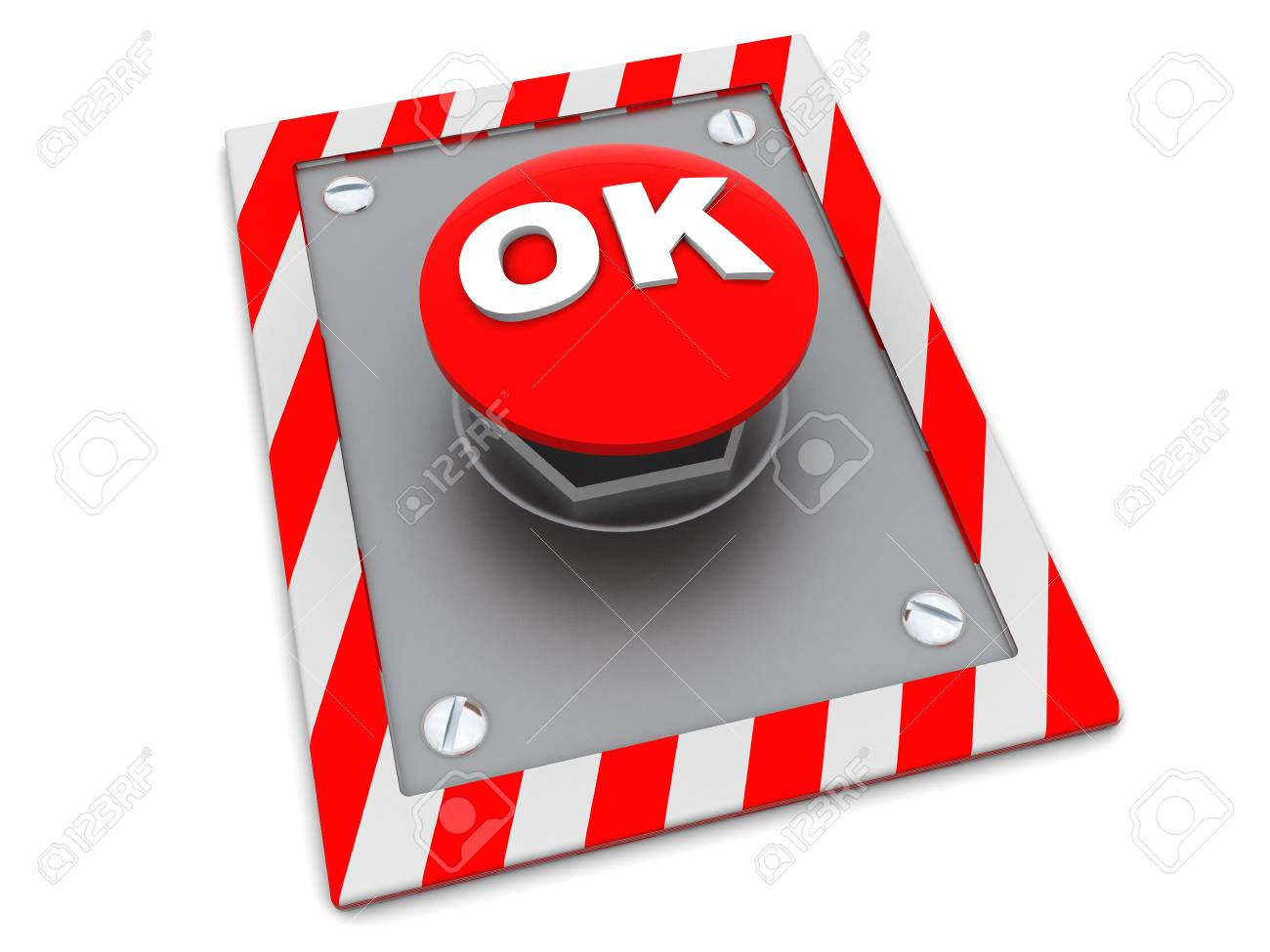 3d illustration of red button with 'ok' sign Stock Photo - 4718304