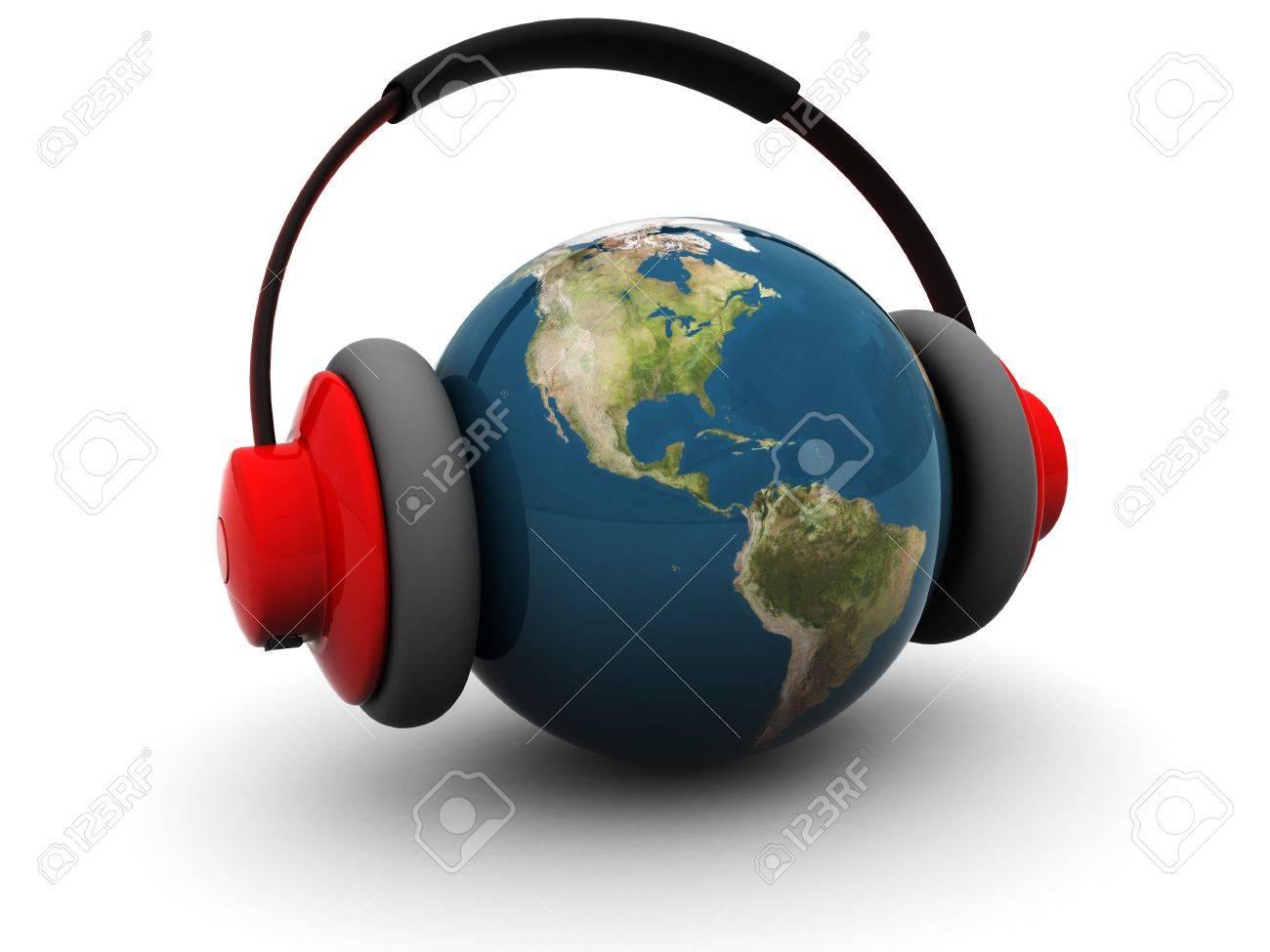 3d illustration of earth globe in headphones over white background Stock Illustration - 4754002