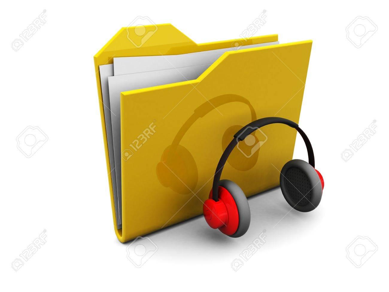 3d illustration of folder icon and headphones, music symbol Stock Illustration - 4775118