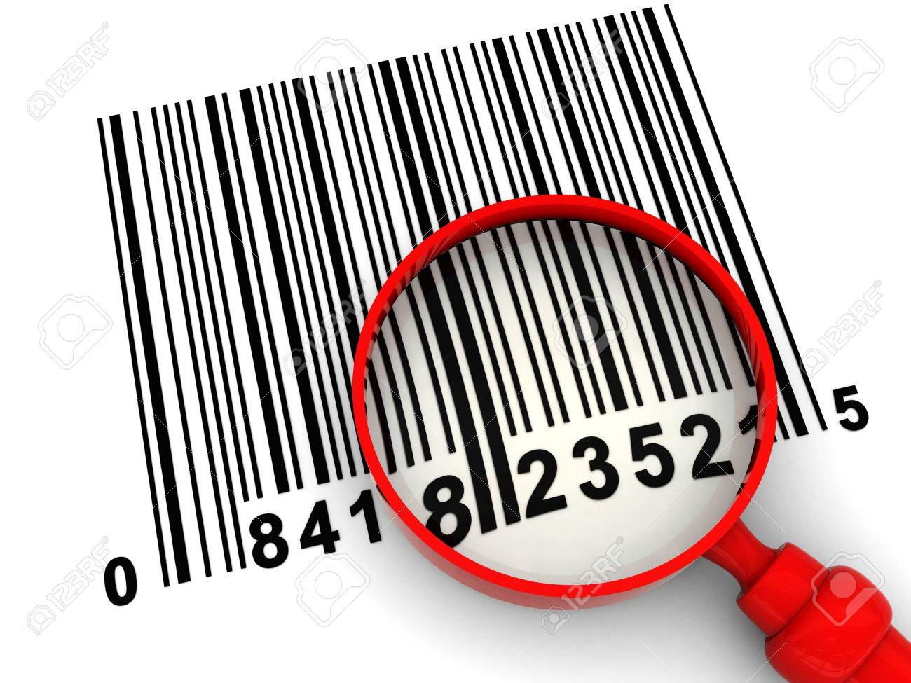 3d illustration of barcode scanning, with magnify glass Stock Photo - 4775161
