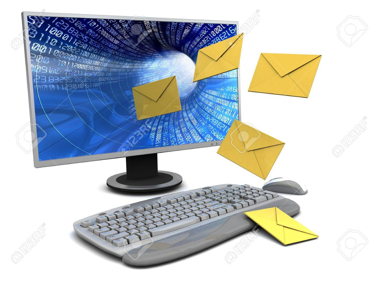 3d illustration of computer with envelopes over white background Stock Illustration - 4864853