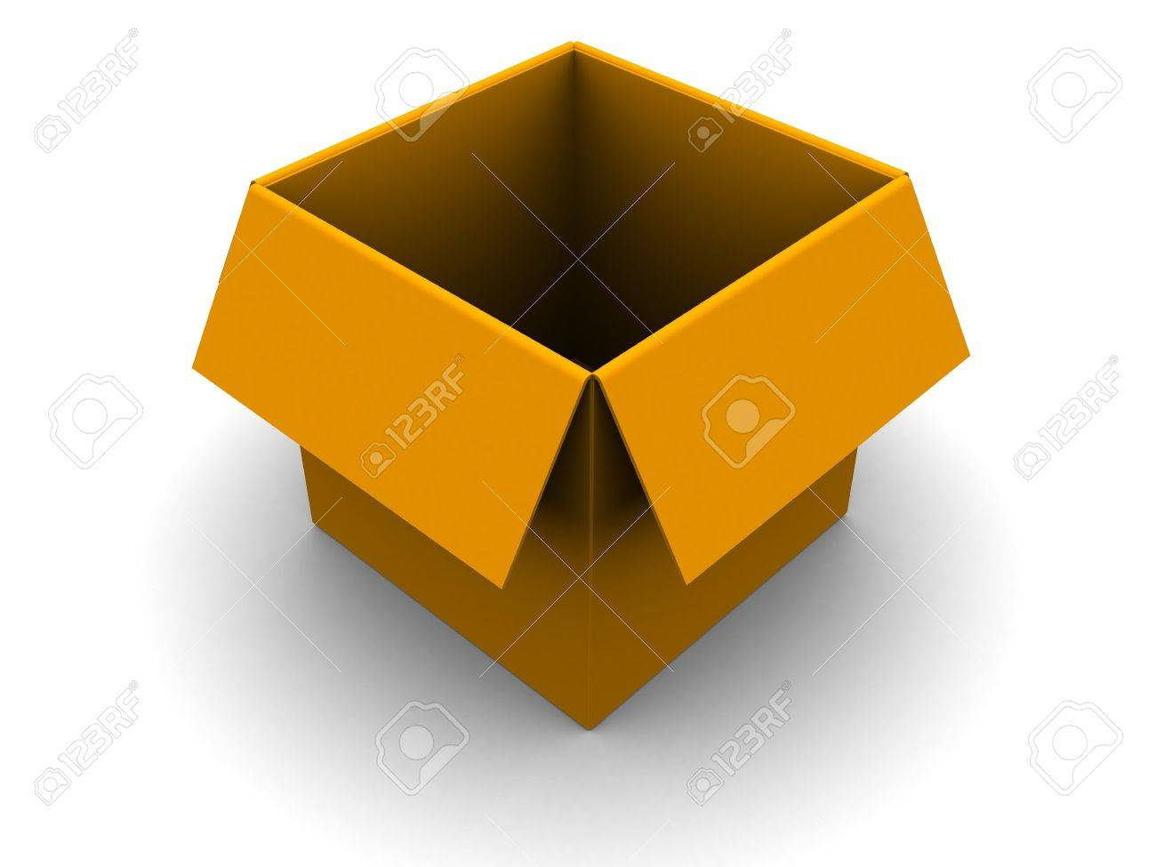 3d illustration of empty orange box over white background Stock Photo - 5023080