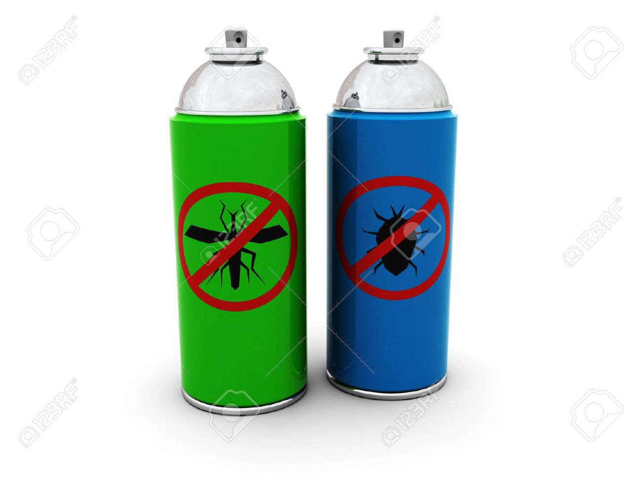 3d illustration of insecticide spray cans over white background