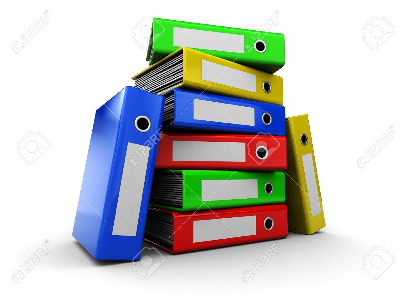 3d ilustration of colorful archive notes over white background Stock Photo - 5340325