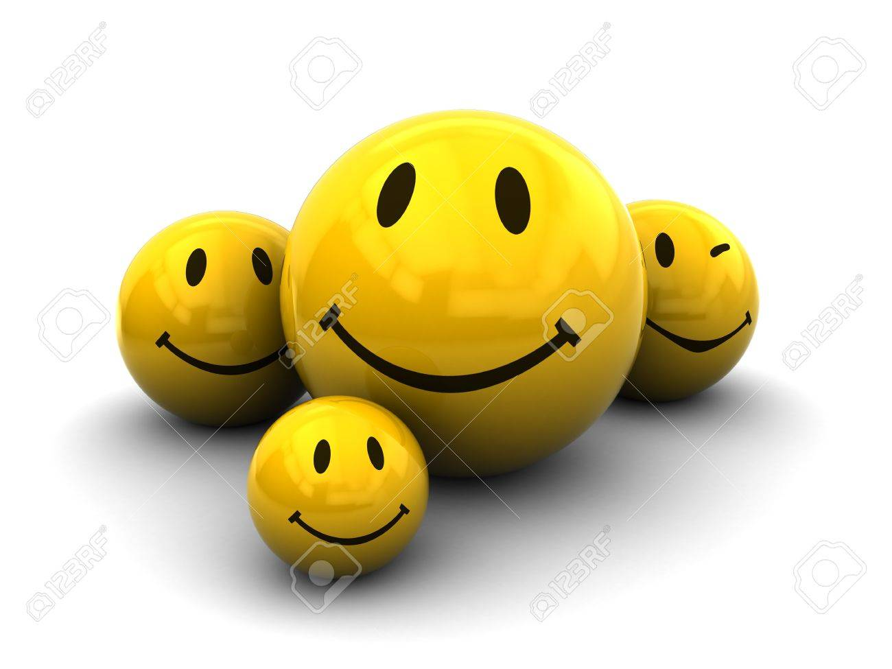 3d illustration of smileys group over white background stock photo