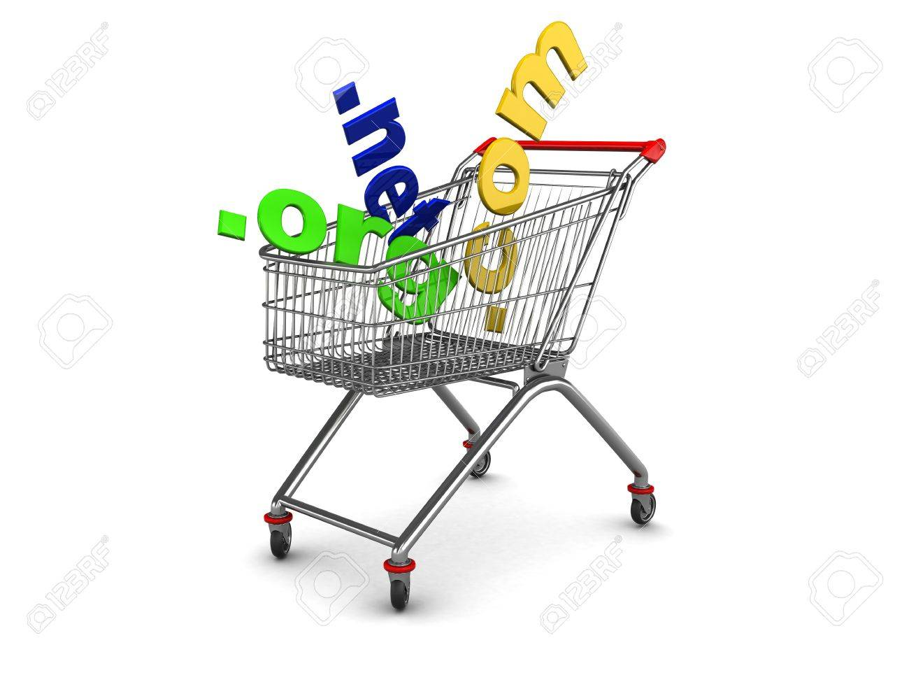 3d illustration of shopping cart with domain names inside Stock Photo - 5520654