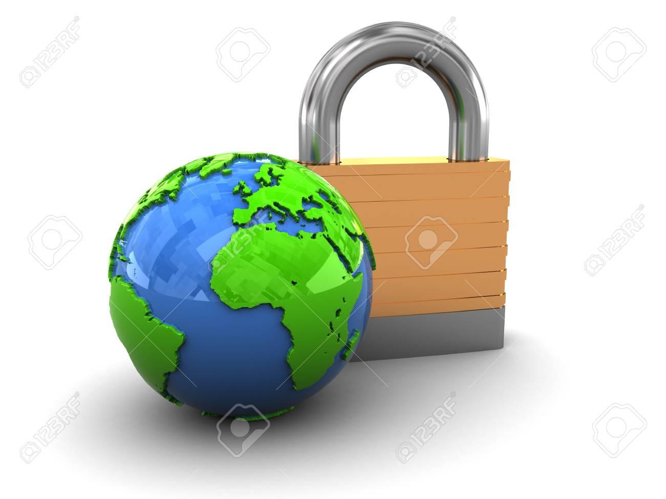 3d illustration of padlock and earth globe over white background Stock Illustration - 5610644