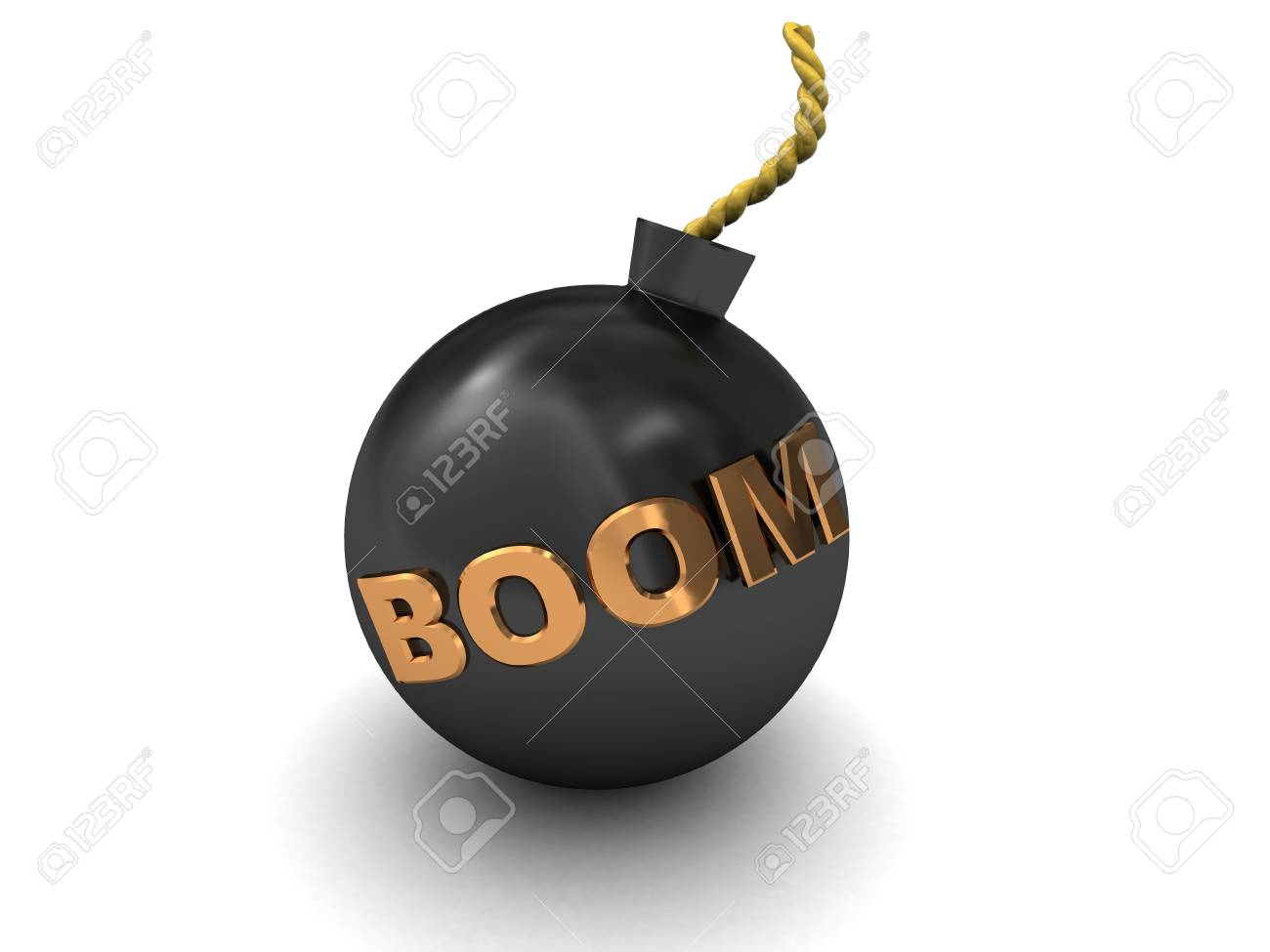 3d illustration of bomb over white background with 'boom' caption Stock Photo - 5961587