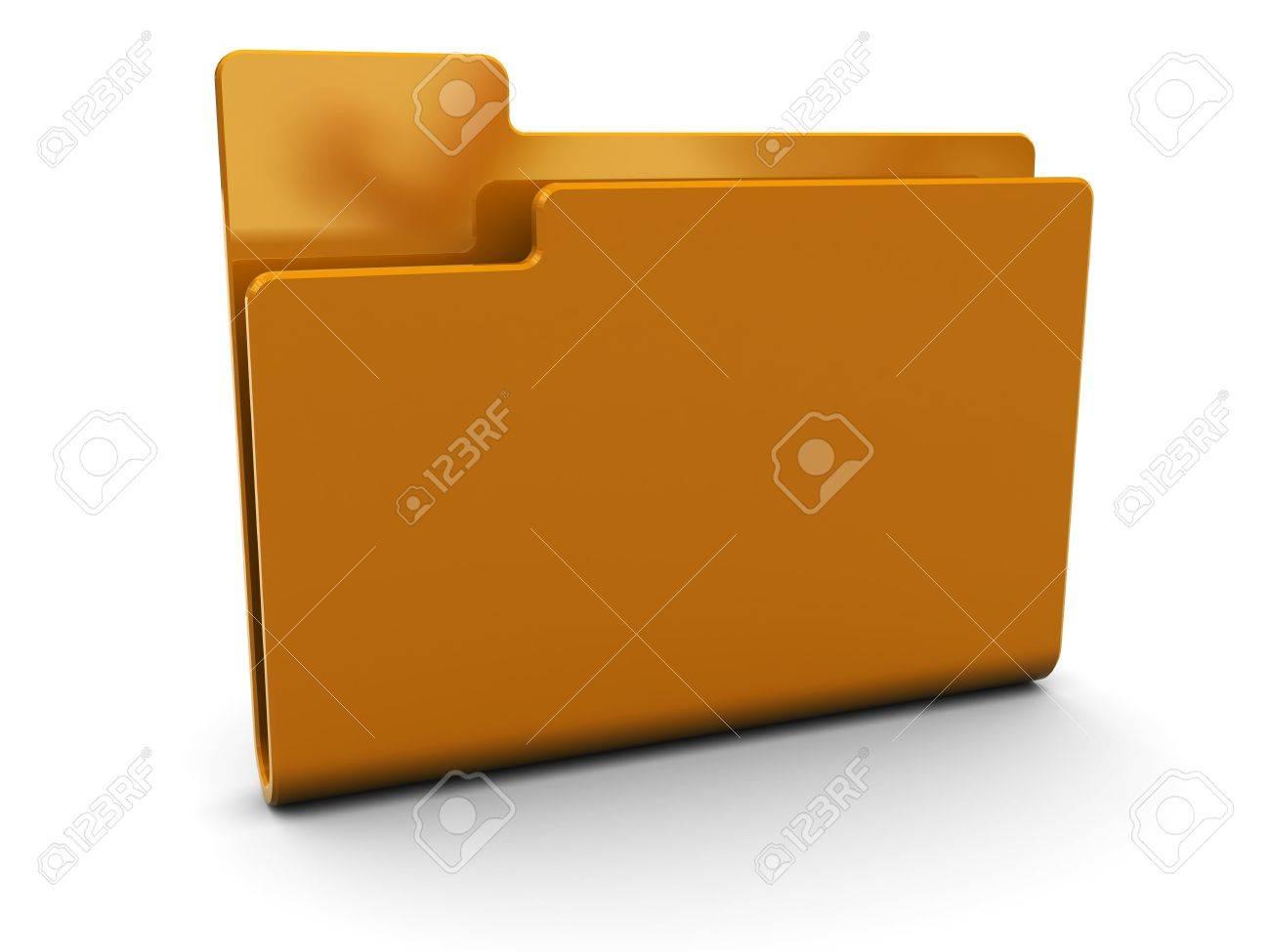 3d illustration of orange folder icon over white background Stock Illustration - 6253346