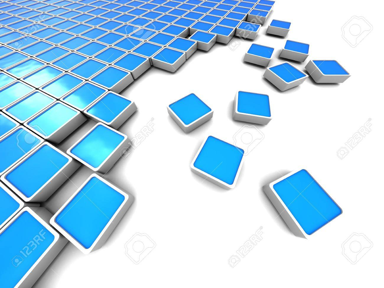 Abstract 3d Illustration Of Blue Blocks Background Stock Photo ...