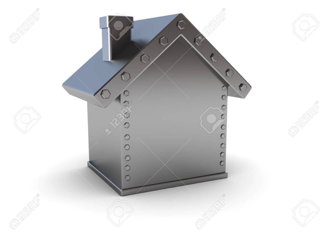 abstract 3d illustration of steel house safe over white background Stock Photo - 6304890