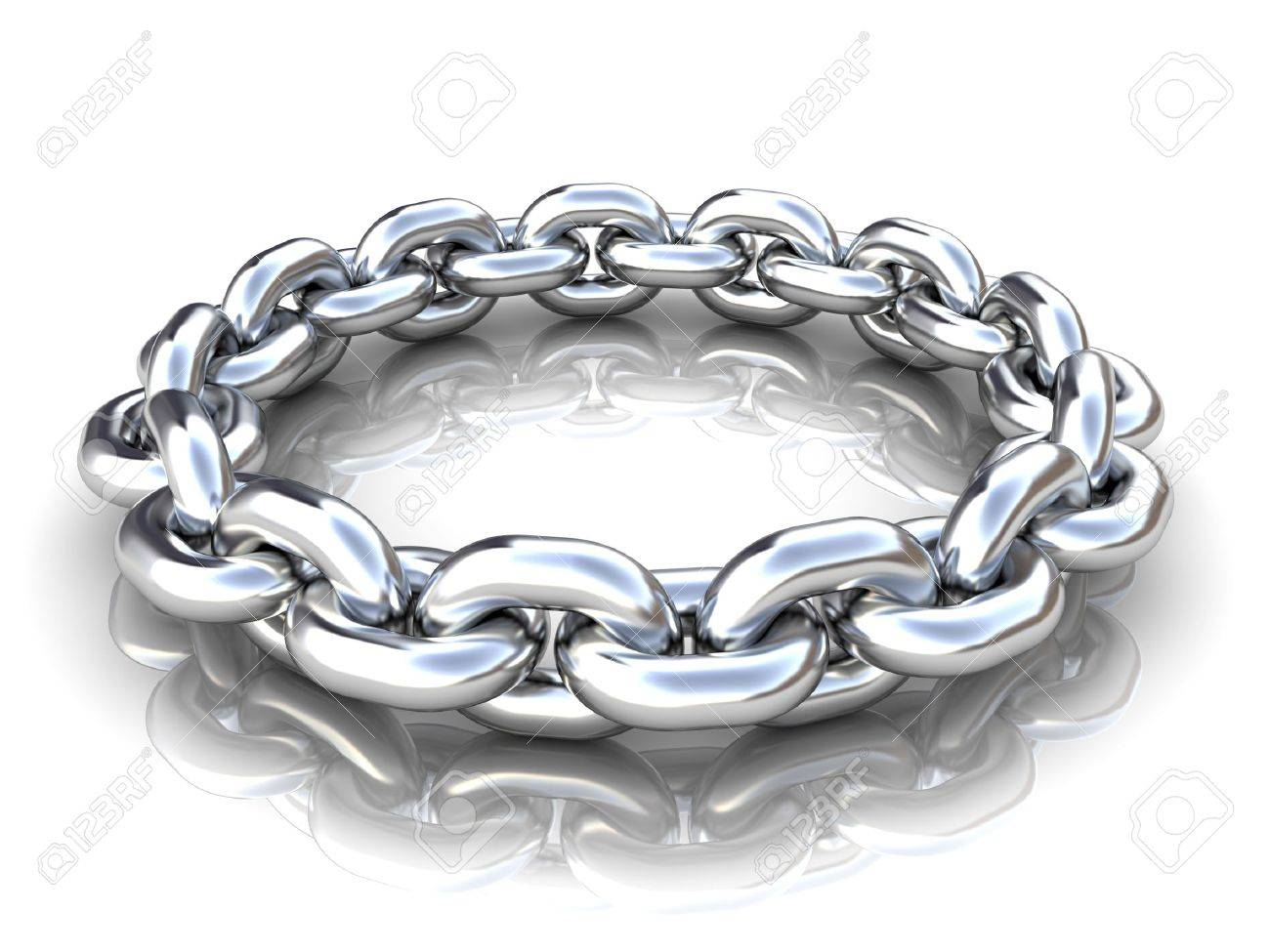 3d illustration of metal chain circle over white background Stock Illustration - 6401835
