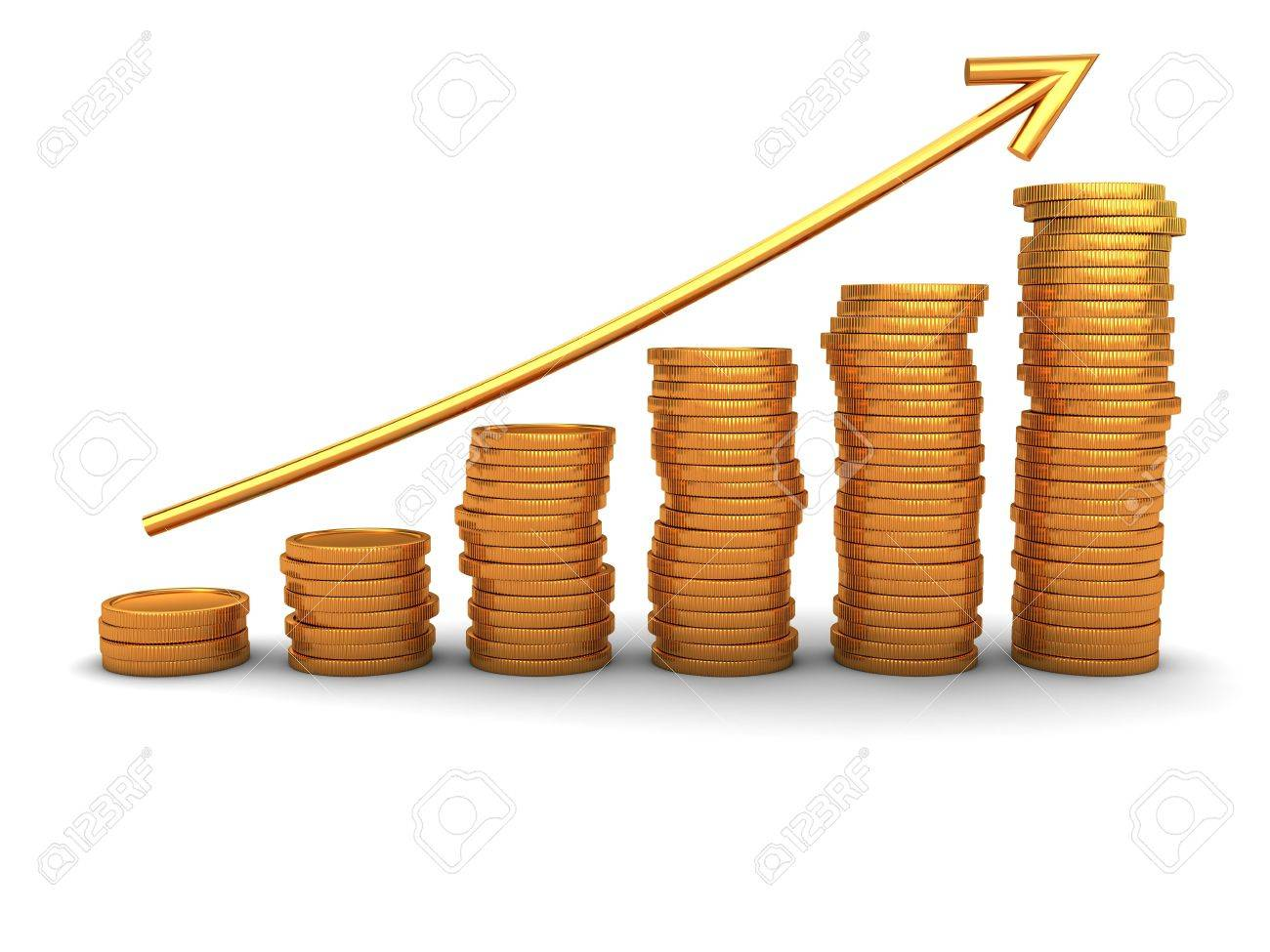 3d illustration of raising coins charts with arrow Stock Illustration - 6503638
