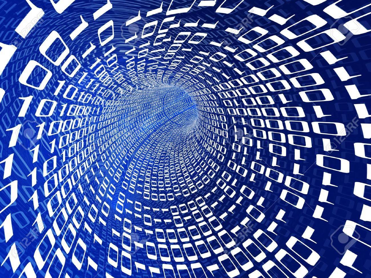 abstract 3d illustration of binary data stream Stock Illustration - 6503628