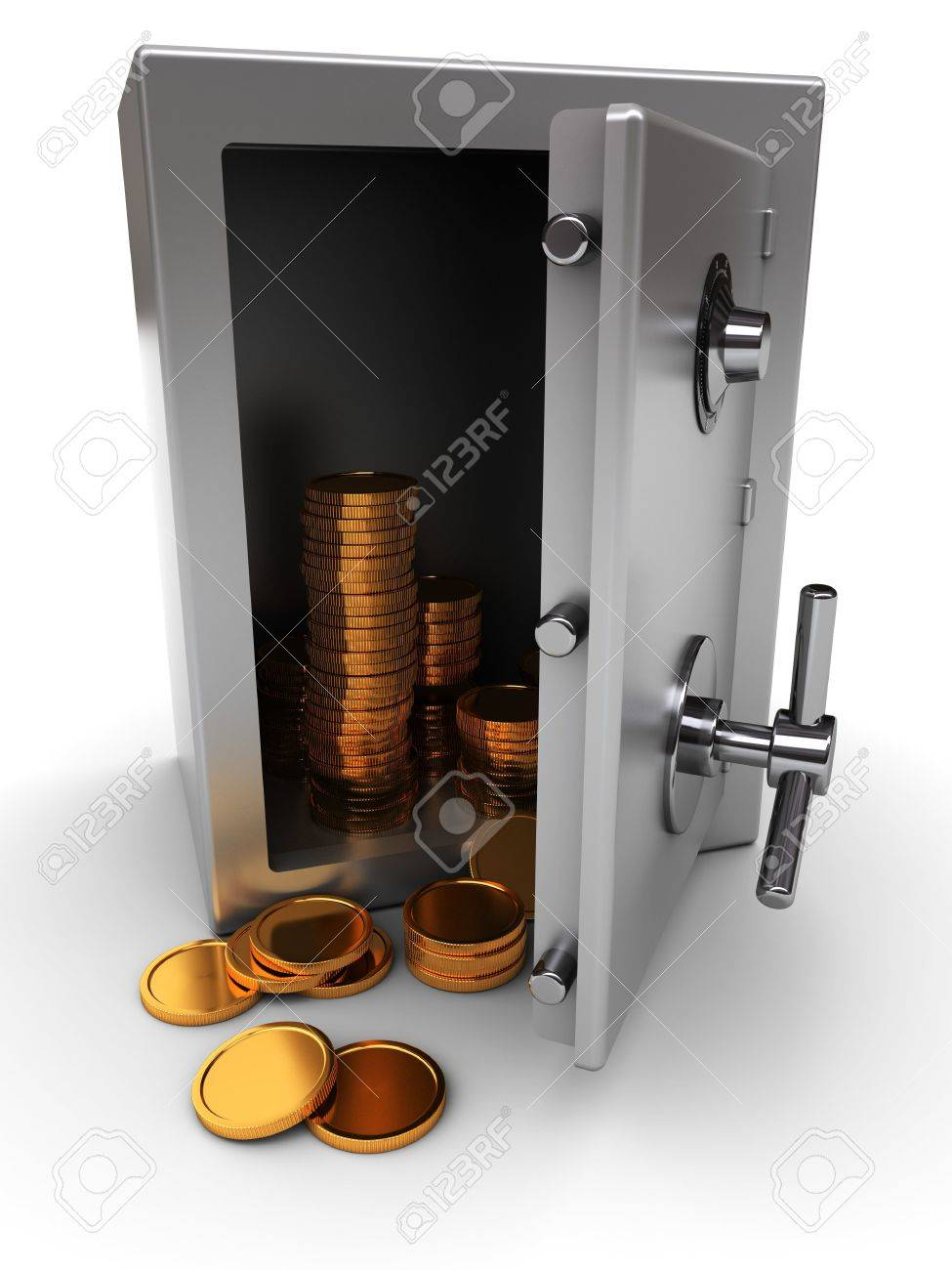 3d Illustration Of Opened Safe With Golden Coins Stock Photo ...