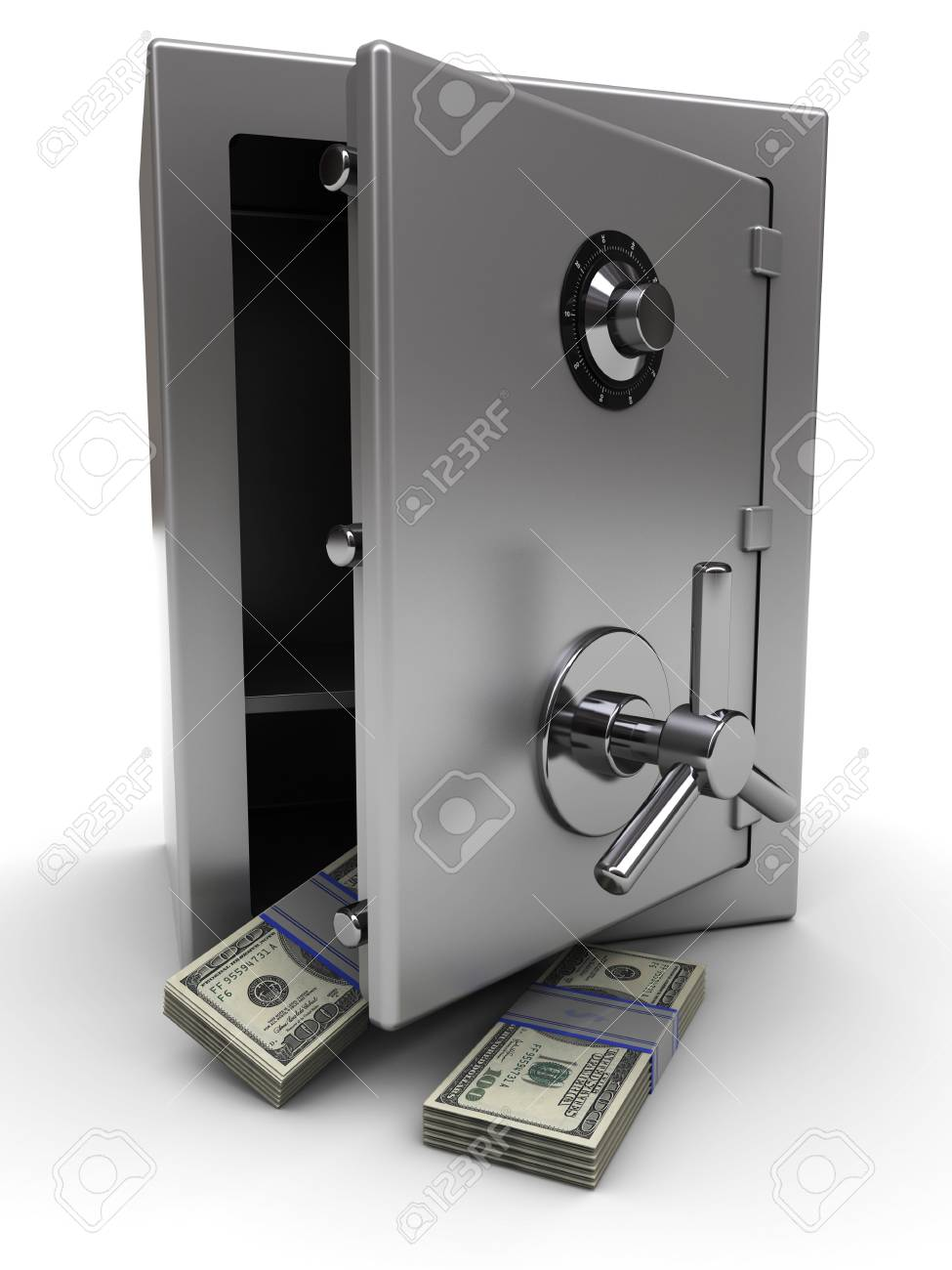 3d illustration of opened steel safe with money Stock Illustration - 6602265