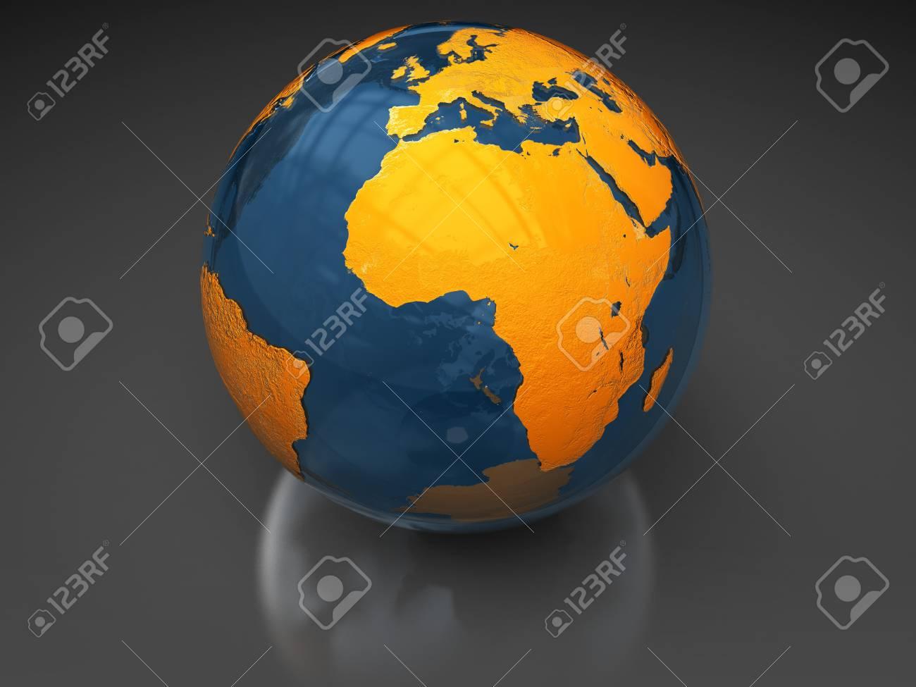 abstract 3d illustration of glass earth globe over dark background Stock Illustration - 6754625