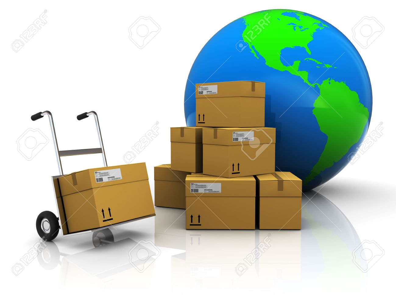 abstract 3d illustration of warehouse with earth globe Stock Illustration - 6793286