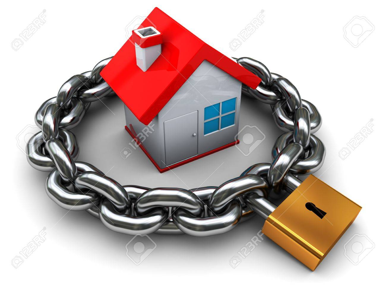 3d illustration of house with chain and padlock, home security concept Stock Photo - 6918087