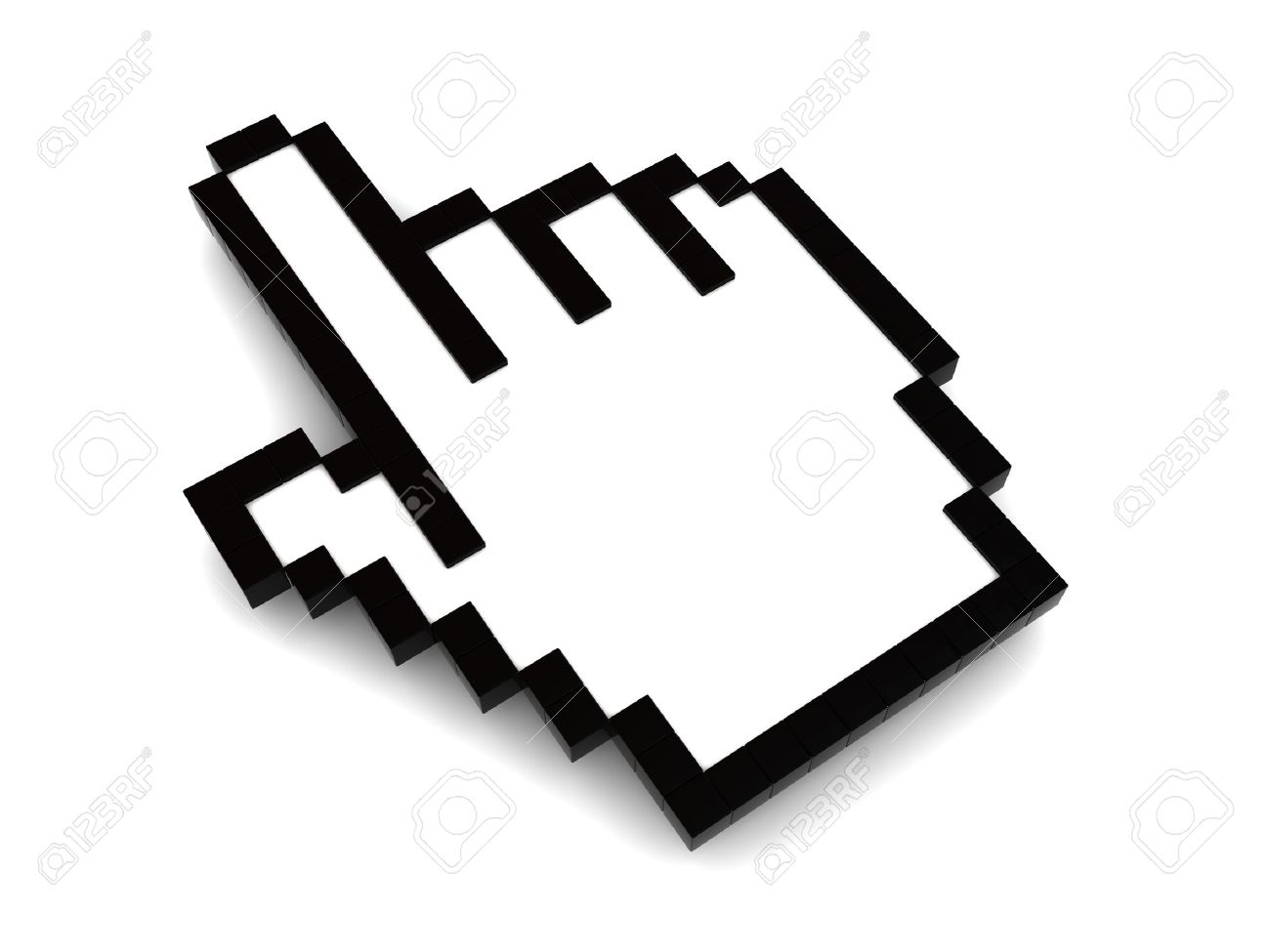 3d illustration of pointing hand mouse cursor, over white background Stock Illustration - 7022210