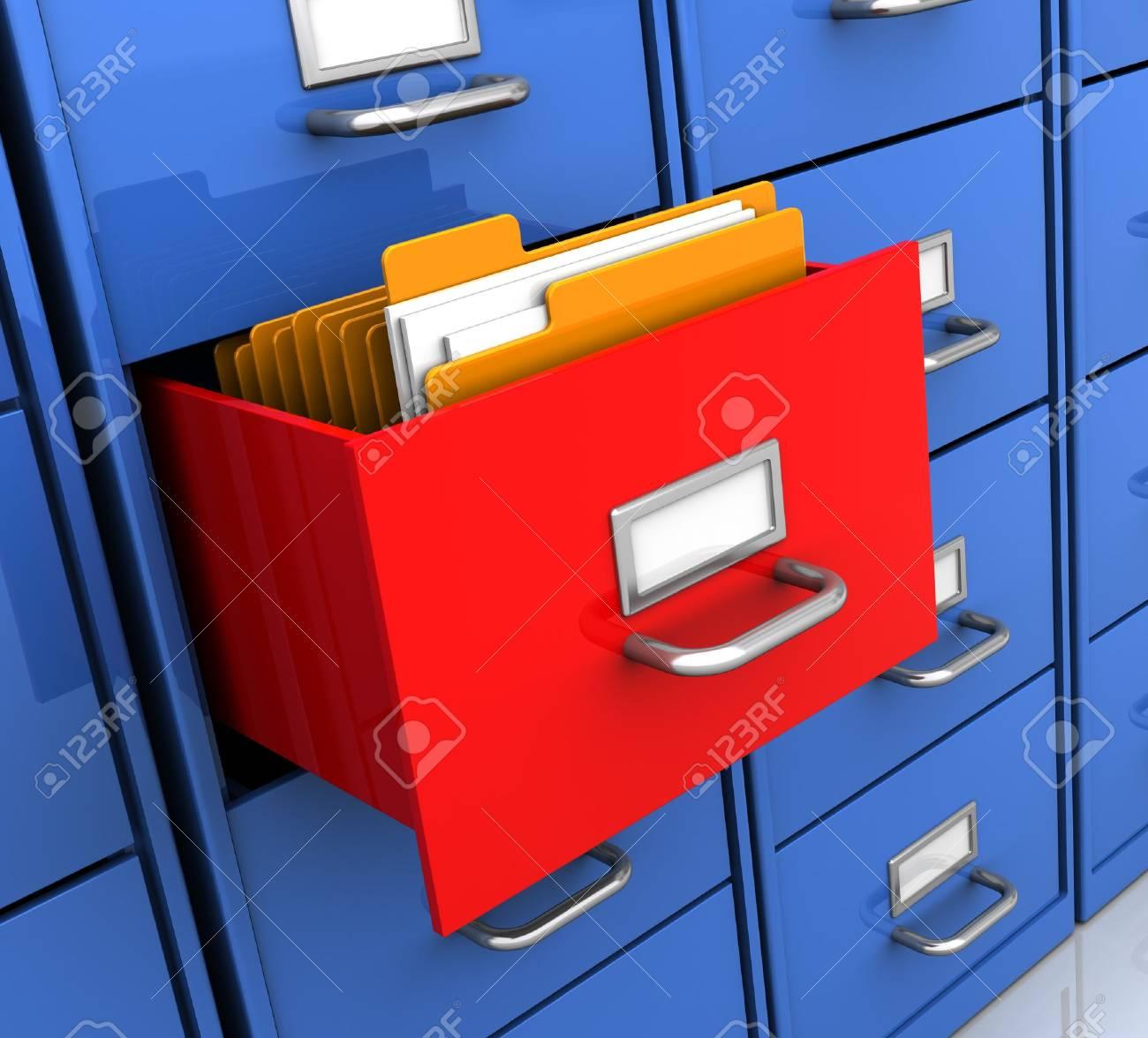 3d illustration of office shelf with document folders inside Stock Illustration - 7080644