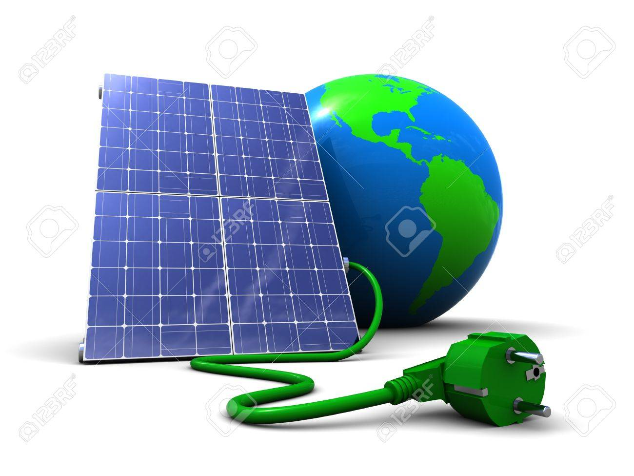 abstract 3d illustration of solar panel with earth globe, over white background Stock Photo - 7131416