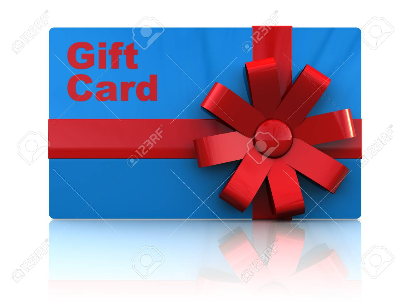 3d illustration of gift plastic card with ribbon, over white background Stock Illustration - 7165883