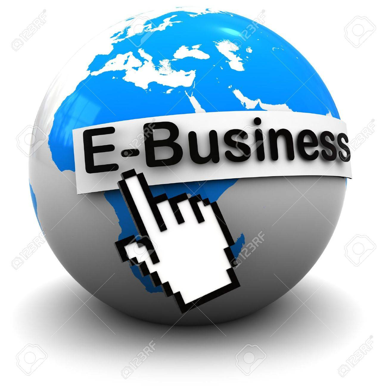 3d illustration of earth globe with internet business sign, over white background Stock Illustration - 7291394