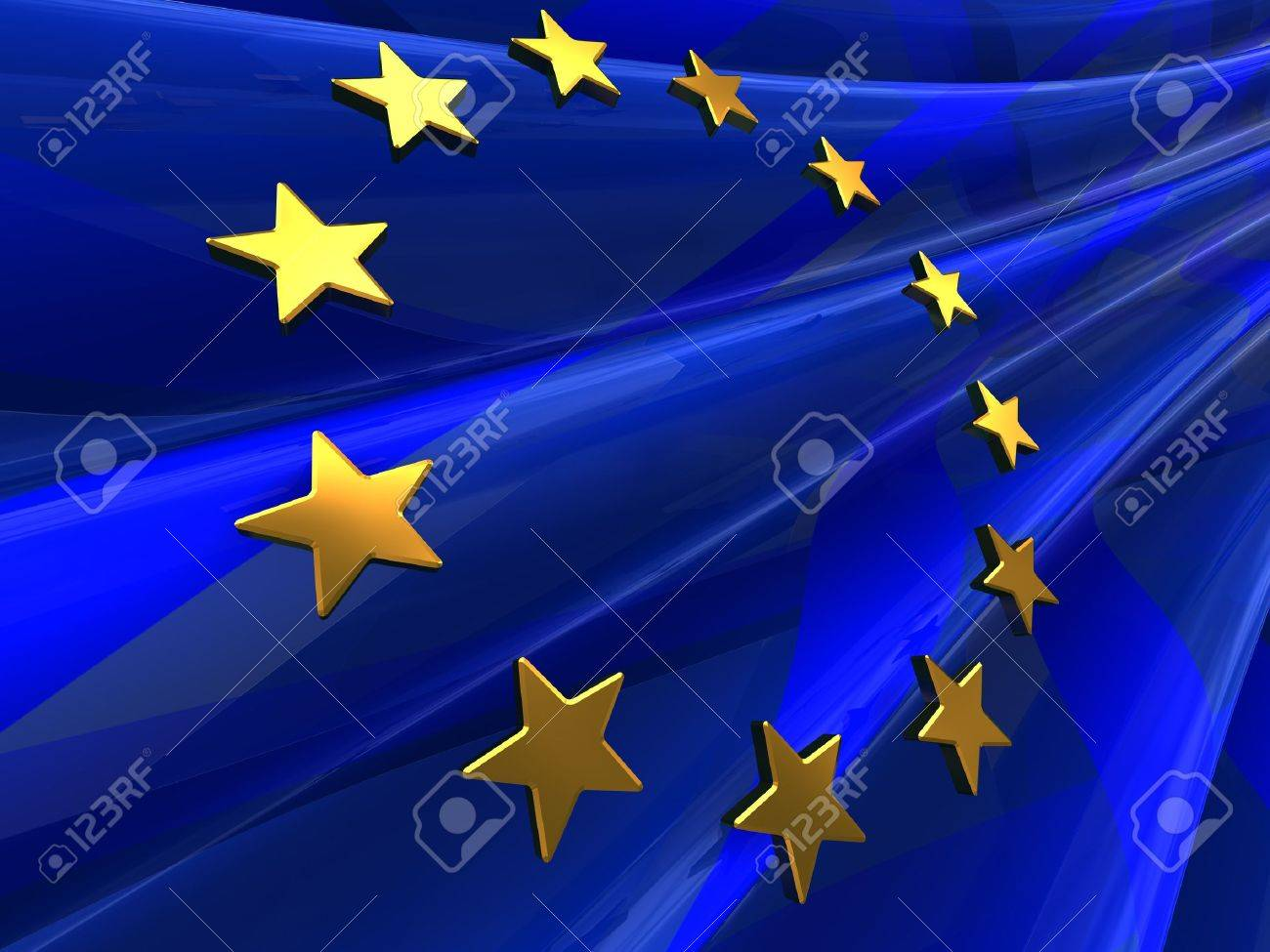abstract 3d illustration of european union flag background Stock Illustration - 7507306