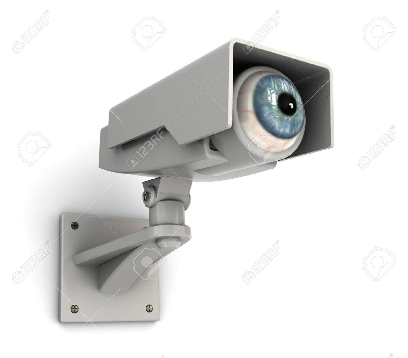 abstract 3d illustration of security camera with human eye Stock Illustration - 7550574