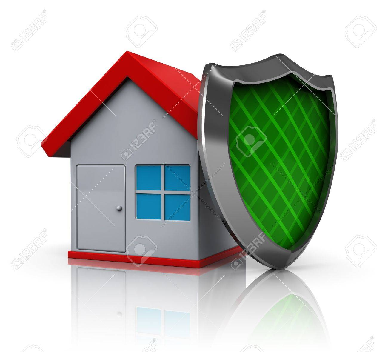 3d illustration of house protected by shield, over white background Stock  Illustration - 7550587