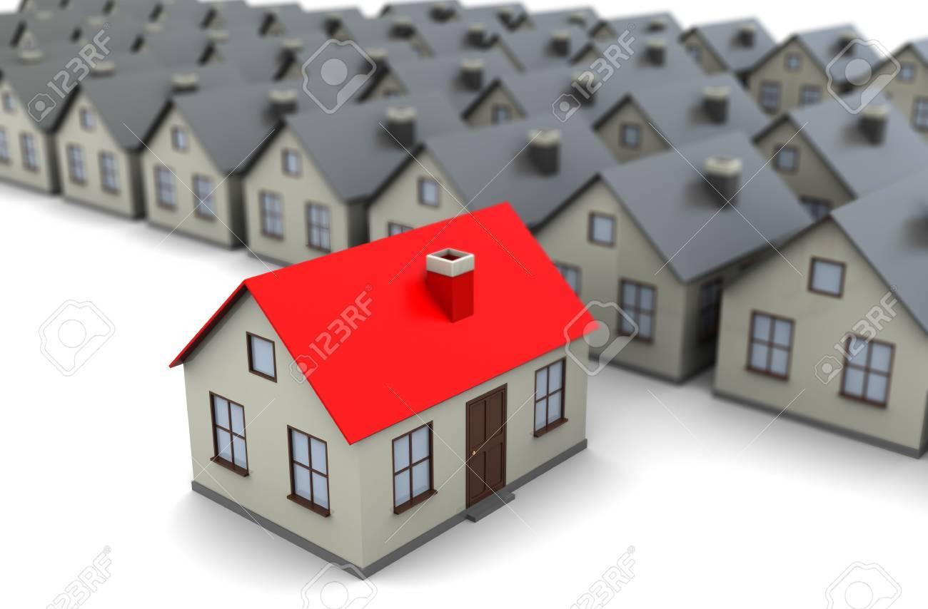 Foto Case Grigie : Illustrazione d astratto della riga case grigie con una scelta