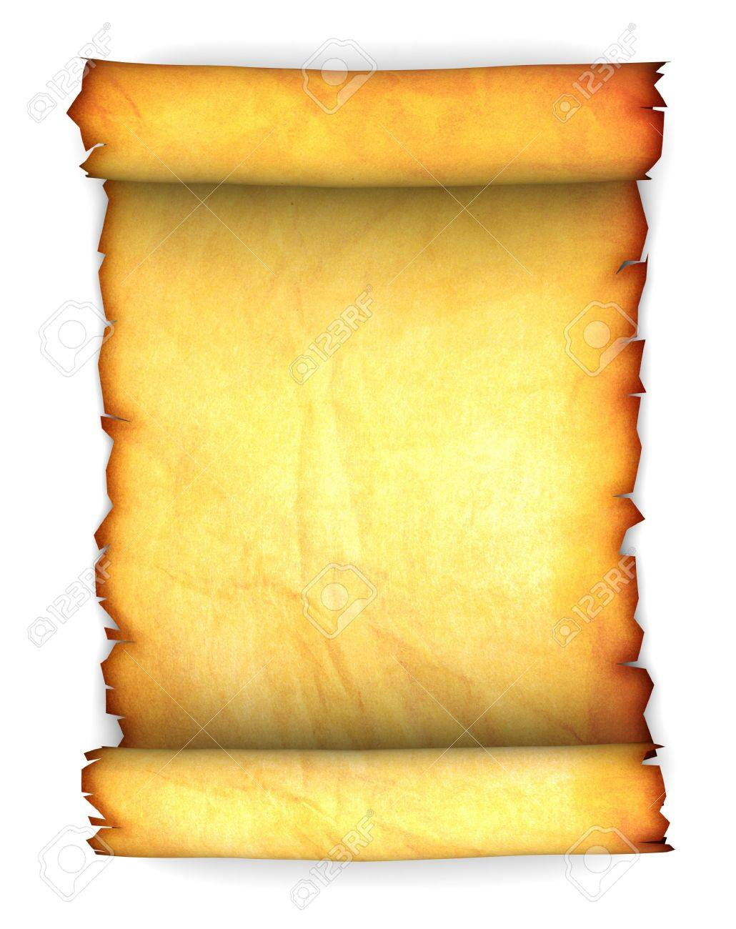 Abstract 3d Illustration Of Ancient Paper Scroll Over White Background Stock