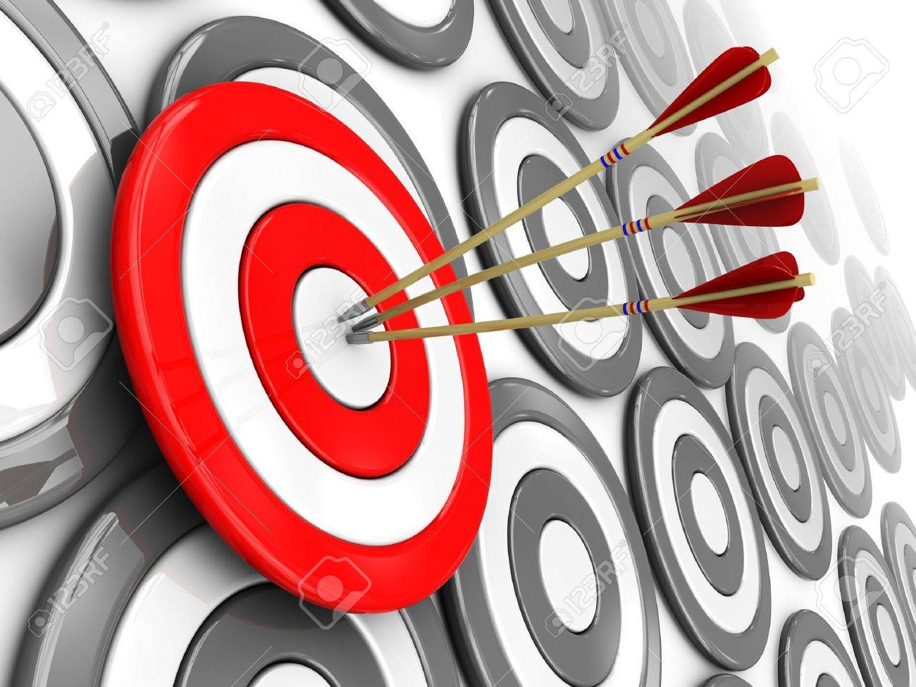 3d illustration of one selected target with three arrows, right target concept Stock Illustration - 7914278