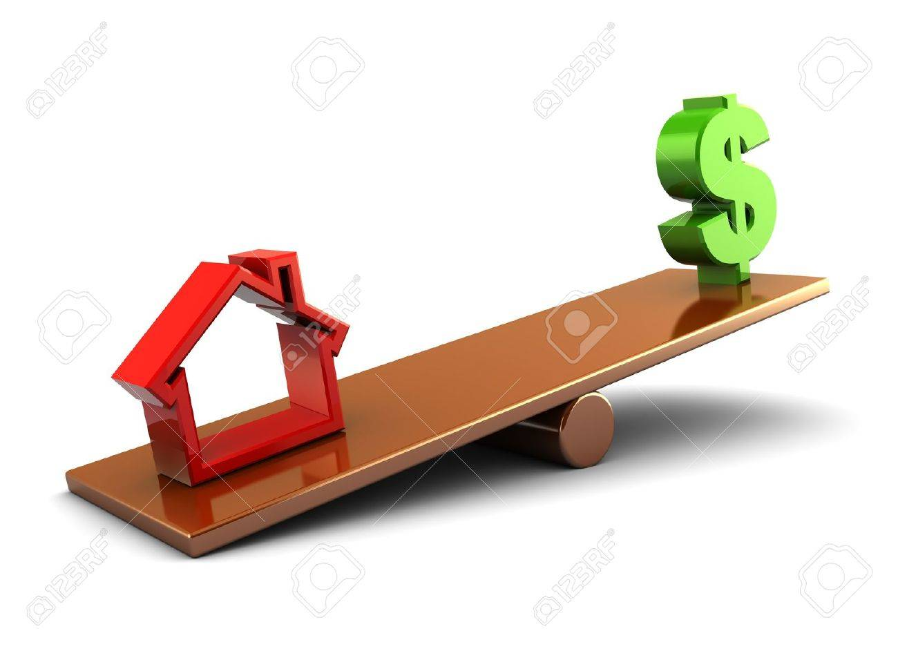 3d illustration of house and money on scale board, over white background Stock Photo - 8077722