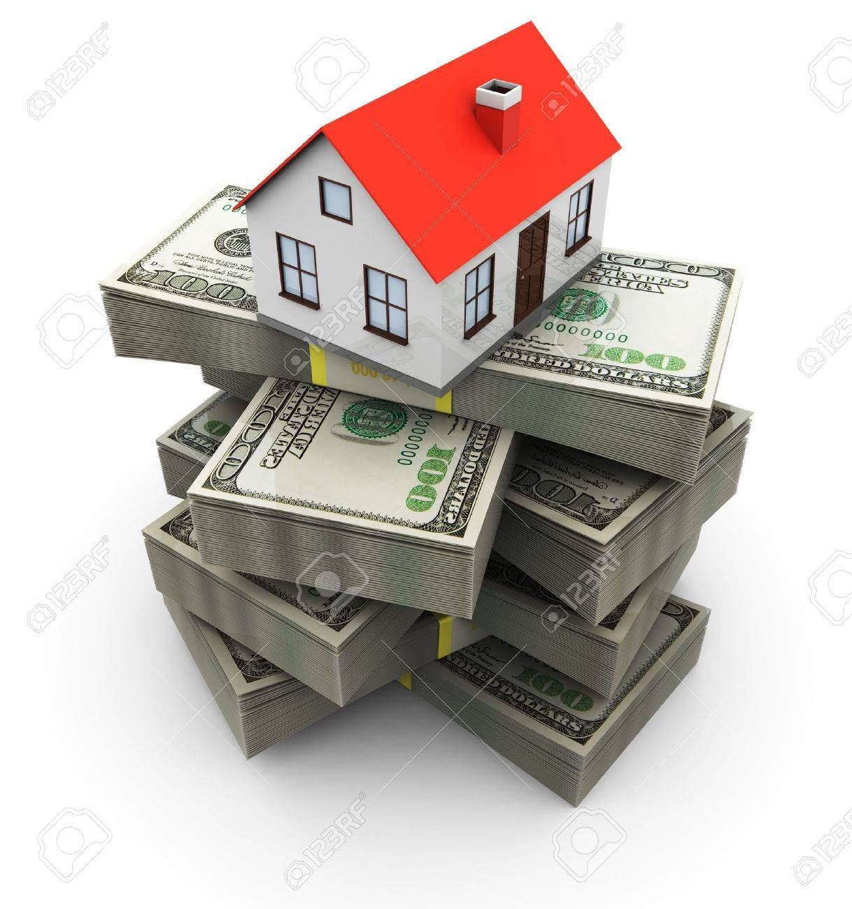 abstract 3d illustration of generic house on money stack, over white background Stock Illustration - 8103543
