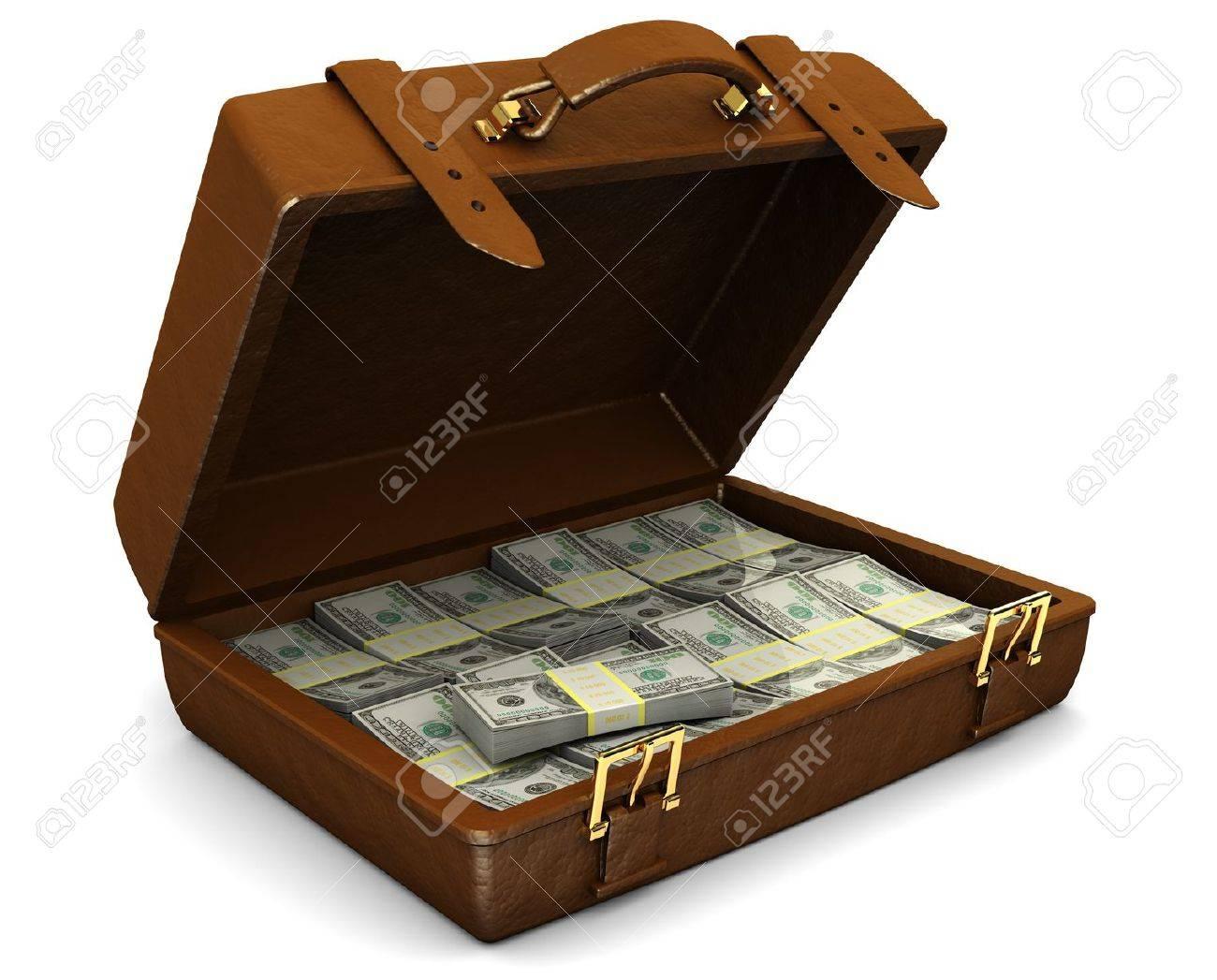 3d illustration of leather case full of money, over white background Stock Illustration - 8103534