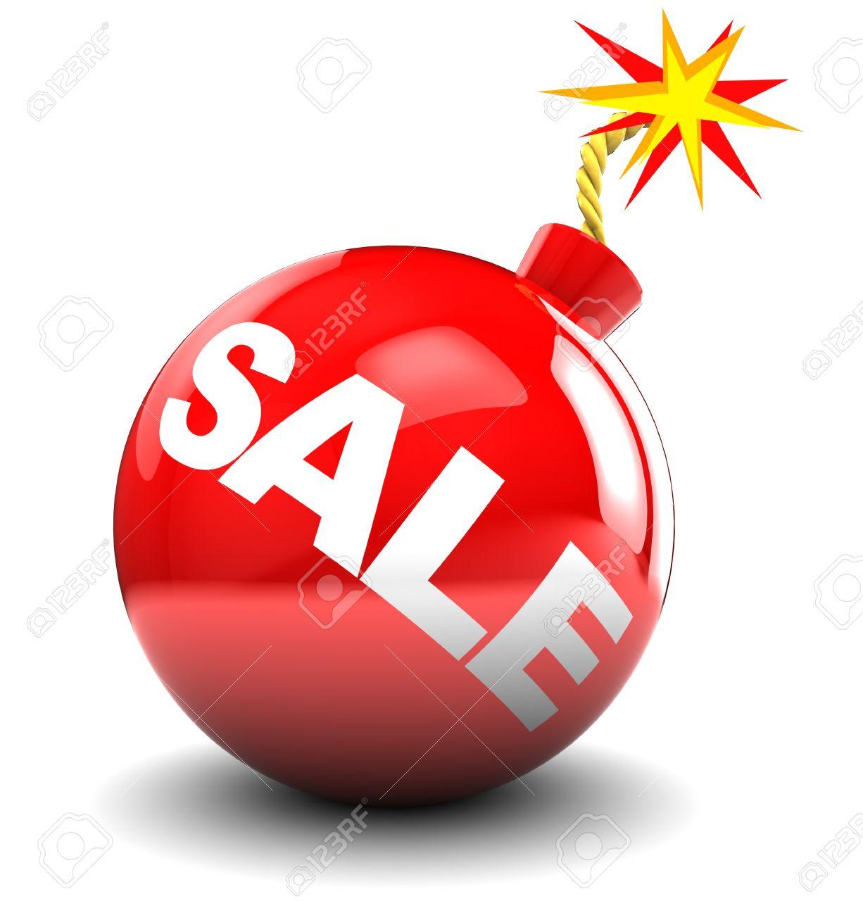 illustrazione 3d astratto della bomba rosso con segno in vendita, su sfondo bianco Archivio Fotografico - 8534463