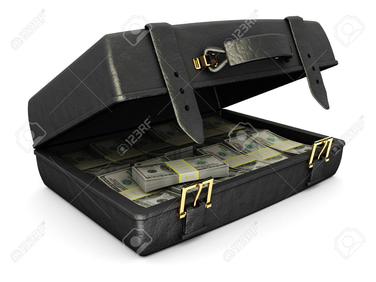 3d illustration of leather suitcase with money, over white background Stock Photo - 8534715